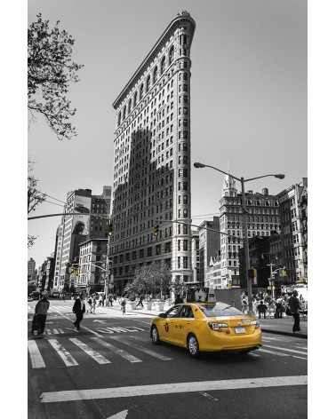 Flatiron Building and Yellow Cab - photographie Nicolas Mazières  Un Yellow Cab devant le Flatiron Building