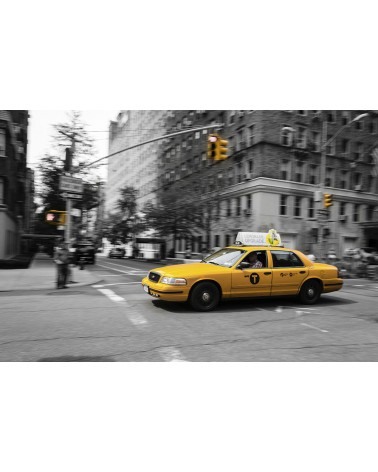 New-York in Black-Yellow & White - photographie Nicolas Mazières  Un Yellow Cab à Manhattan
